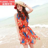 温暖时光 波西米亚夏新款雪纺沙滩裙显瘦短裙 海边度假裙子连衣裙
