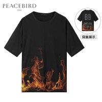 【开学季1件2.5折,到手价:69元】太平鸟男装 春季新款个性3D火焰效果大码运动短袖T恤潮B2D
