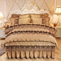 欧式天鹅绒床裙四件套夹棉加厚裙式加棉床罩4件套保暖床上用品