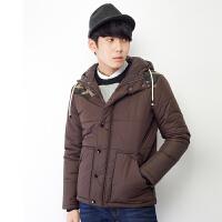 【2件3折价99.9元】唐狮冬装男士连帽拼接棉衣迷彩图案拼接韩版修身