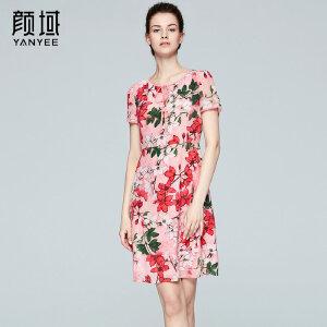 颜域品牌女装2017夏季新款中长款系带收腰A型真丝品牌印花连衣裙