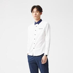 【1件3折到手价:37.5】美特斯邦威男衬衫春装高品质时尚撞领修身长袖衬衫722021