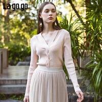 【5折价147】Lagogo2019春季新款锁骨上衣洋气露肩粉色针织衫女IAMM432M06