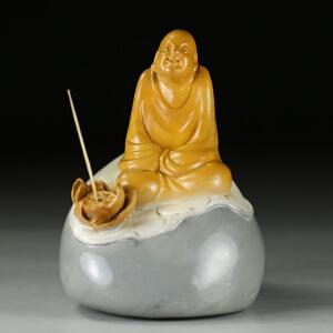 寿山巧色山秀园石 精雕人物摆件 香插 p3140