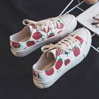 草莓高帮帆布鞋女学生2019春季新款韩版软妹马卡龙鞋复古港味
