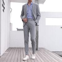 格子小西装男士套装韩版修身英伦风潮流帅职业装新郎西服结婚正装