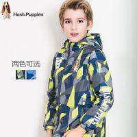 .暇步士童装2017冬季新品男童风衣外套中大童厚风衣儿童加绒上衣