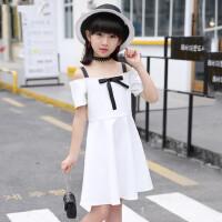 女童连衣裙中大童儿童装一字肩吊带裙小女孩时尚韩版公主裙子
