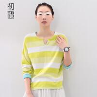 初语新款文艺女装 撞色条纹套头长袖宽松毛衣针织女8530323002