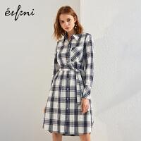 伊芙丽2018春修身系带中长裙气质宽松长袖复古格纹连衣裙