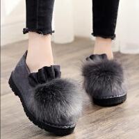 棉鞋女冬季老北京布鞋女鞋加绒保暖女靴韩版休闲豆豆鞋学生毛毛鞋