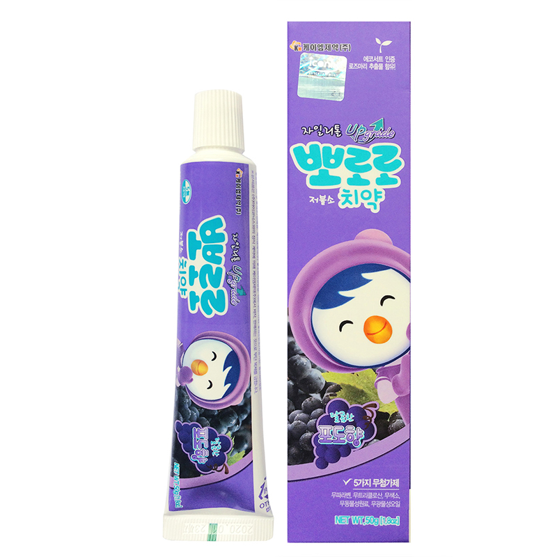 【包邮】宝露露(pororo) 韩国进口pororo啵乐乐葡萄味牙膏  宝宝儿童牙膏牙齿护理水果味3-6-12岁