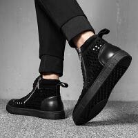 马丁靴男英伦韩版潮流百搭时尚个性反绒皮男靴子高帮男鞋中帮短靴 黑色