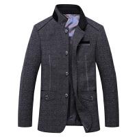伯思凯2014新款羊毛呢大衣男士呢子大衣单排扣中长款男外套