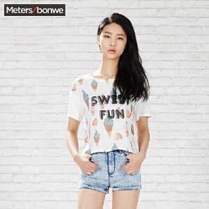 美特斯邦威女短袖衬衫夏装女冰淇淋印花短袖衬衫225555 庥