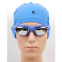 新款眼镜泳帽组合套装 男女通用 电镀泳镜加PU泳帽 长发眼镜+泳帽