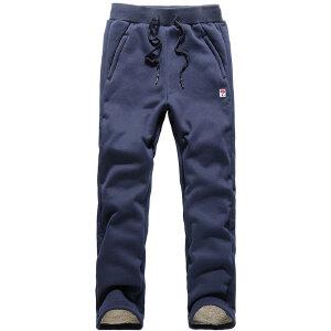 2018秋冬新款羊羔绒加厚加绒运动裤户外健身休闲裤保暖宽松跑步长裤子