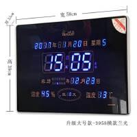新款大数字LED万年历客厅挂钟静音夜光日历插电壁挂电子钟 其他