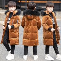 儿童装男童冬装棉衣外套保暖中长款金丝绒潮