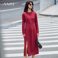 Amii极简优雅慵懒风chic连衣裙女2018秋装初恋裙长袖开叉纯色长裙.