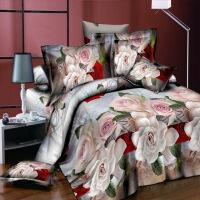 3D四件套床�伪徽至Ⅲw四件套整版大花新婚床品紫色百合花床上用品