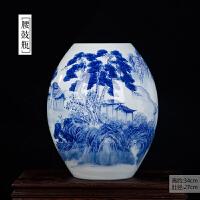 景德镇陶瓷花瓶摆件仿古新中式手绘青花瓷花瓶插花山水画客厅摆设SN0339
