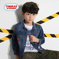 【一件5折】托马斯正版童装男童春装小火车印花纯棉牛仔外套