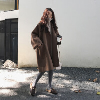 2018新款大衣女中长款秋冬季韩版学生pp home赫本风毛呢呢子外套 咖啡色 XS