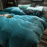 冬季加厚珊瑚绒四件套加绒床上用品短绒双面被套床单