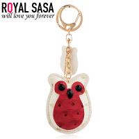 皇家莎莎猫头鹰钥匙扣PU皮钥匙圈韩国版包包汽车合金挂件挂坠饰品
