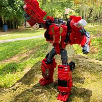威将火尊战将 救护吊车摩托挖机消防车变形机器人5合体礼盒套装
