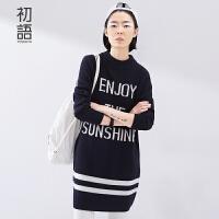初语春季新品  字母图纹撞色毛衣条纹直筒毛衣女 8610423009