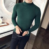 男士毛衣男秋季2018新款韩版休闲打底衫潮流网红半高领套头针织衫 绿色 M