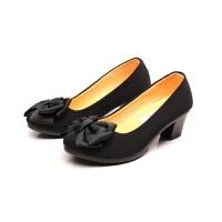 老北京布鞋女鞋单鞋软底浅口坡跟防滑黑色工作鞋酒店高中高跟厚底 黑 0-6 标准码