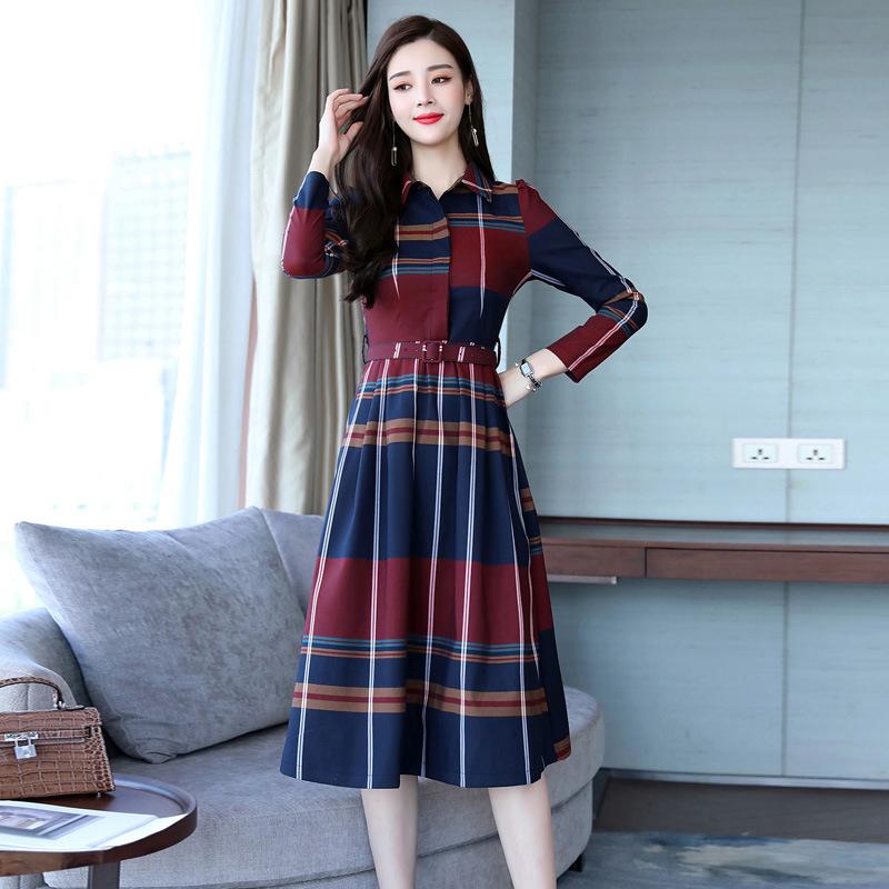 春秋长袖格子连衣裙2018新款韩版修身收腰气质优雅衬衫裙a字长裙