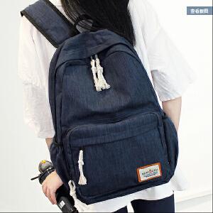 纯色双肩包女中学生书包韩版学院风背包男休闲时尚潮旅行包小清新