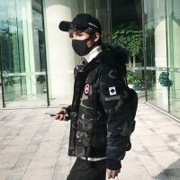 2018男士冬季外套新款连帽短款羽绒棉衣迷彩男装韩版学生棉袄