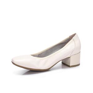 Camel/骆驼女鞋 2018春季新品 简约高挑真皮舒适粗跟单鞋女