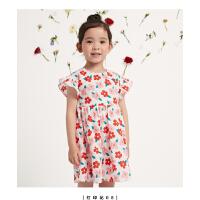 【抢购价:29】笛莎童装女童连衣裙2021夏季新款宝宝儿童洋气时尚甜美公主碎花裙