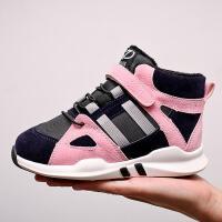 女童棉鞋秋冬季儿童加绒中高帮运动鞋男宝宝童鞋子
