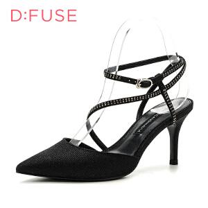 【星期六集团大牌日】迪芙斯(D:FUSE) 专柜同款布细跟尖头绑带单鞋DF71111191
