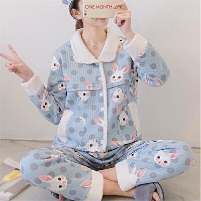 孕妇装 秋冬新款空气层月子服 纯棉保暖哺乳衣 夹棉孕妇睡衣1218