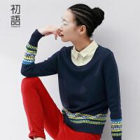 初语冬季新款女装学院风圆领套头假两件毛衣女学生针织衫上衣女8530423916