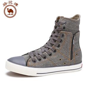 骆驼牌 新款高帮男帆布鞋日常休闲舒适耐磨男鞋时尚韩版潮