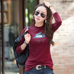 卡茗语韩版秋冬长袖t恤女款 秋打底衫修身圆领上衣