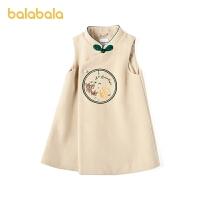 【3件4折价:120】巴拉巴拉童装女童裙子春季小童宝宝毛呢裙儿童连衣裙中式