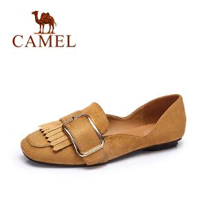 Camel/骆驼女鞋 春夏新款 时尚方头方块扣流苏单鞋浅口平底鞋