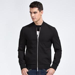 才子男装(TRIES)夹克 男士2017新款纯色修身简约时尚休闲夹克外套