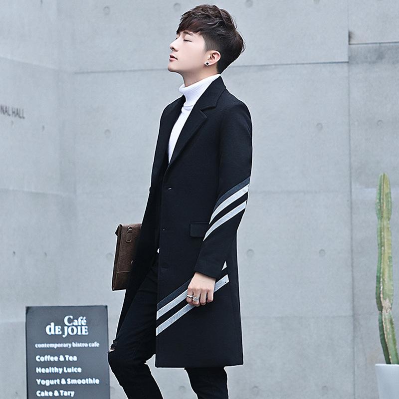 秋季风衣男中长款韩版潮流过膝毛呢大衣男士呢子外套2018新款冬装   本产品为促销产品,限购一件,未经过客服同意,私自大量下单的一律不发货,并且不作为
