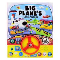 Big Plane's Long Journey 飞机旅行发声书 飞行注意事项 方向盘体验故事绘本玩具书 英文原版进口